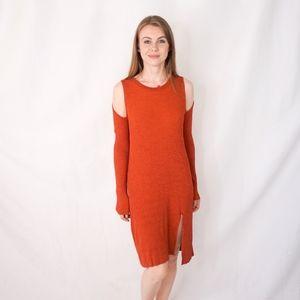 BCBG MAXAZRIA Orange Ribbed Knit Dress 0791